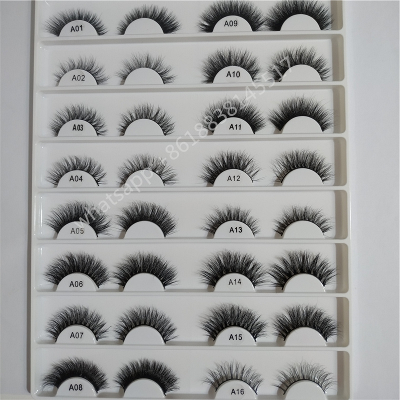 21 styles 5d real mink fur eyelashes d curl genuine single 3d 18mm 20mm natural mink lashes A07
