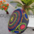 Indian embroidered suzani pouf cover mandala embroidered Ottoman cushion cover round pouf chair pad cover Black Multi color