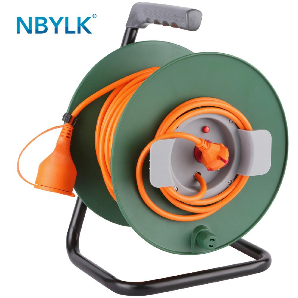 Europe Garden Cable Reel, European 16A 2P plug and socket outlet, extension <strong>cord</strong> 40m <strong>H05VV</strong>-<strong>F</strong> 2X1.5