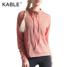 Fashion Drawstring High Collar Top Sports Yoga Wear Pocket Sweatshirt Loose Quick Dry Running Suit