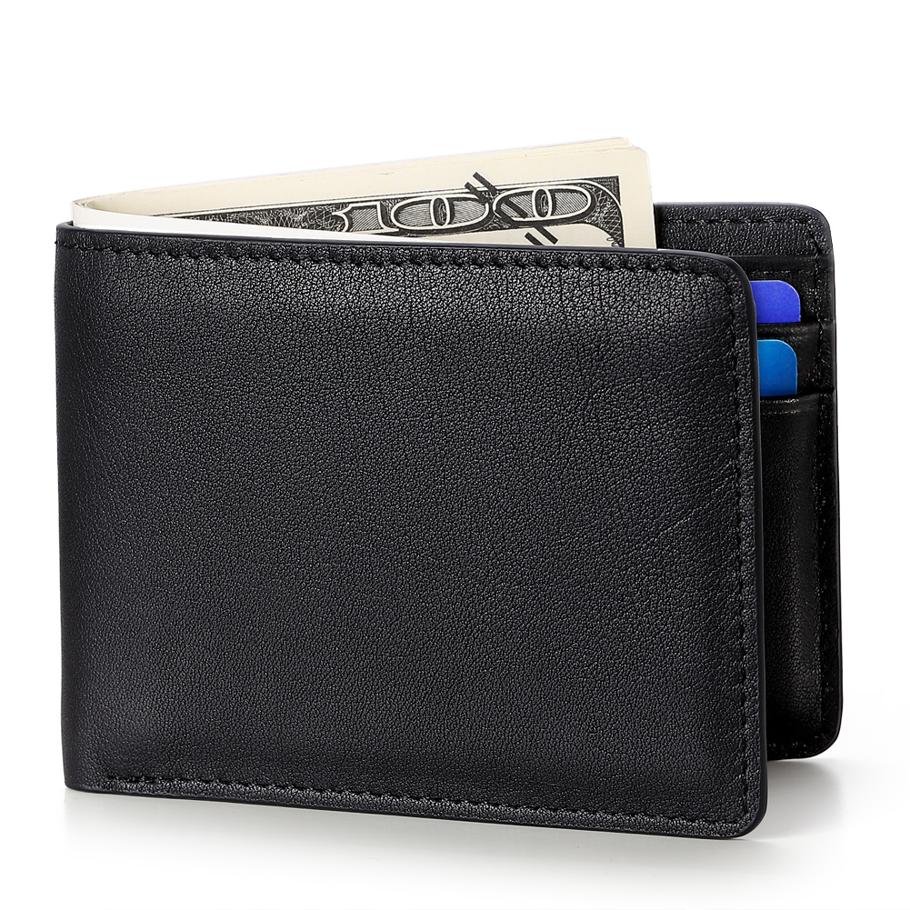 Mens Fashion Slim Minimalist Genuine Leather Wallet Purse Rfid Leather Wallets for men