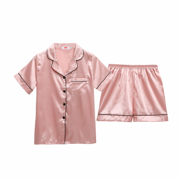 Pajamas Women's Silk Shorts Short Sleeve Cardigan Lapel Solid Color 7 Color Home Service Set Nightdress