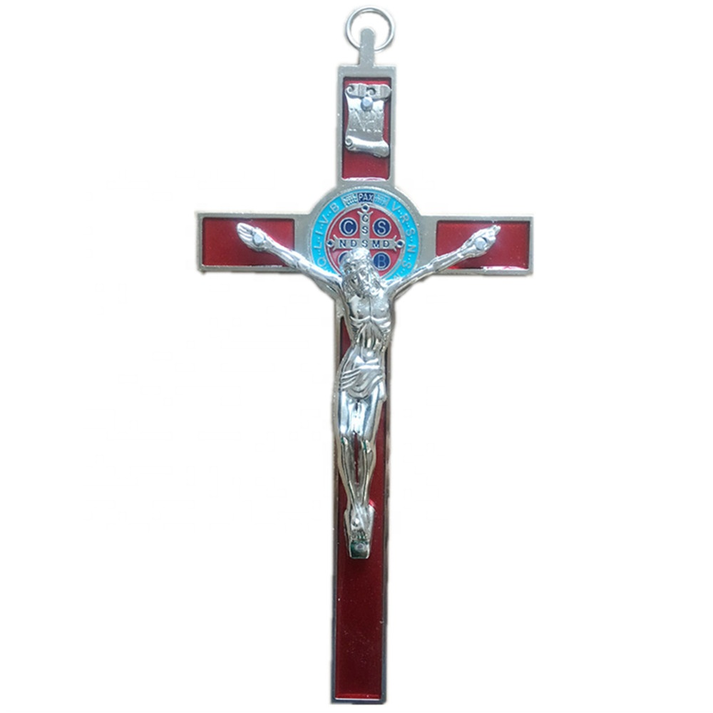 Religious St Benedict Wall Catholic Crucifix Jesus Christon INRI Cross with hanging circle