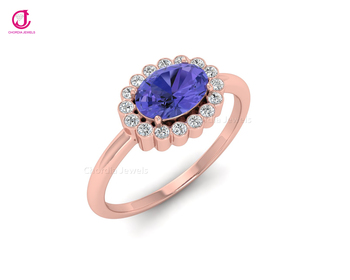 Certified,14K Rose Gold Ring With 100% Natural Tanzanite & Diamond I1-G/H 16 Pcs For wedding At Wholesale Price