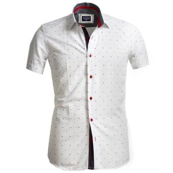 White Dot Short Sleeve High Quality  Dress Shirt