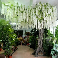 2019!White wedding Artificial Hanging Wisteria Flower Tree