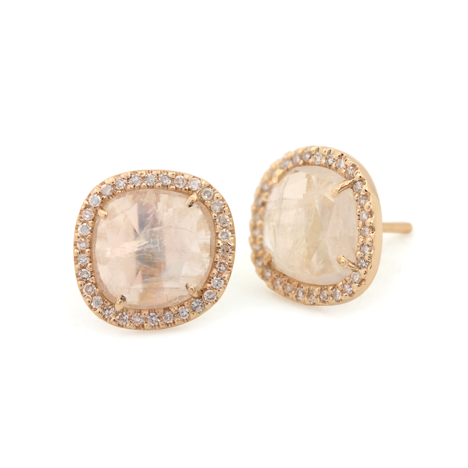 14k Solid Yellow Gold Fine Jewelry 0.25 Carat Natural Pave Diamond Moonstone Dangle Earrings For Women