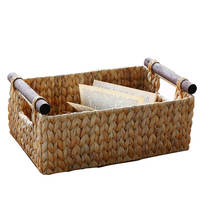 New product 2020 Unique Design Water Hyacinth Wicker Rectangular with Wooden Handles Storage Basket