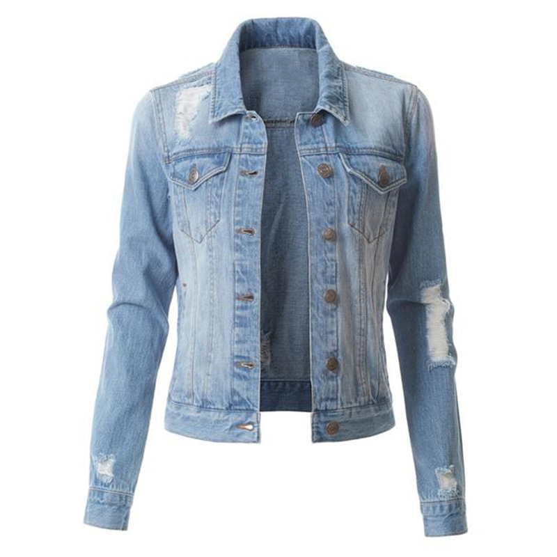 Factory wholesale sales of women's denim jackets fashion <strong>holes</strong> washed denim jackets