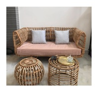 Rattan living room sofa/Bamboo rattan dining table and chair ( 0084587176063 Sandy)