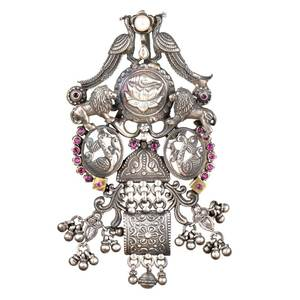 92.5 Sterling Silver Pendant Traditional Motifs Lions ,Peacocks ,Ducks With Lotus flower In Centre