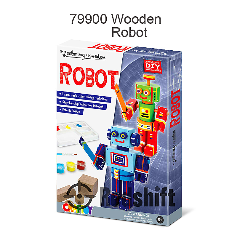 Make your own Wooden toy robot Amazon FBA DIY art and craft kit with paint and brush Coloring kid diy toy