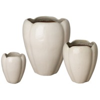 [Kiddo]- Outdoor Pottery - Ceramic Tulip-shaped Planter - Flower Pot Ceramic - Vietnam Glazed Pots - Planters Home - Plant Vase