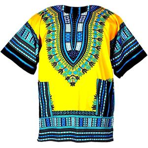 Manufacturer Exporter Of Yellow Colour Cotton African Dashiki Shirt For Female