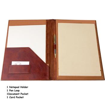 Leather Brown Simple Conference Folder For Office Use With Notepad Holder And Pen Loop