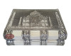 "ANTIQUE TAJ MAHAL DESIGNED, SILVER METAL FINISH, WOODEN HANDMADE JEWELRY GIFT BOX (6.5""x4""x2"" INCH)"
