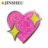 promotional custom heart shaped pink glitter pin badges