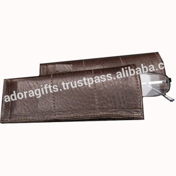 Brown Sleeve Eyeglass Holder Case PU Leather