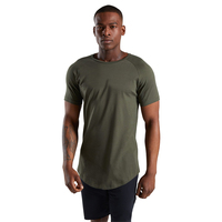 Top quality gym fitness wear athleisure cotton spandex slim fit t shirt for men wholesale long line