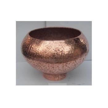 copper finished rough Hammered Vase in Bowl shape made in Aluminium sheet