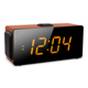 "ALARM CLOCK WITH PLL FM RADIO, USB PORT AND SD CARD SLOT FOR MP3 PLAYBACK, 1.8"" LED DISPLAY, REMOTE CONTROL, WOODEN CASING."