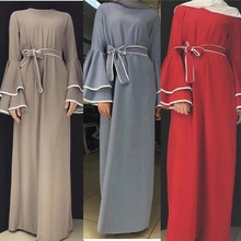 New <strong>abaya</strong> 2019 crepe <strong>muslim</strong> dress fashion trumpet sleeves with bow ribbon <strong>abaya</strong> dress