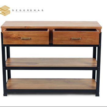 MODERN TEAK CONSOLE TABLE WITH IRON COMBINATION -DENHAS