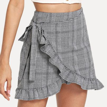Zega Apparel Frill Trim Knot Side Plaid Wrap Skirt
