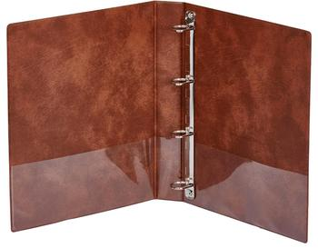 Simple leather file with metal rings for document storage