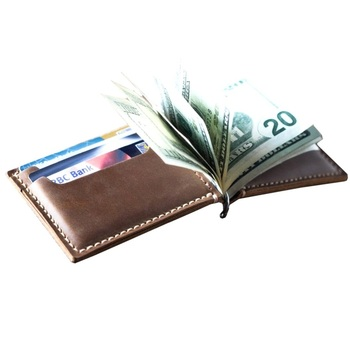 Money Clip Wallet Leather Card Holder Brown And Black