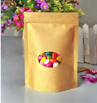 Food standard standup biodegradable kraft paper bag with window