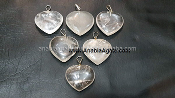 Gemstone Healing heart pendants : Crystal Quartz Heart Shape Pendant
