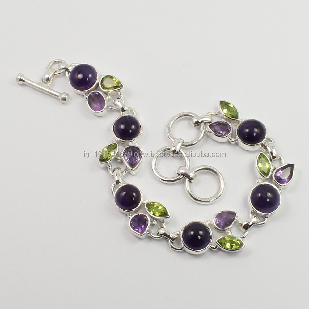 bracelet Natural AMETHYST and PERIDOT Gemstones 925 Sterling Silver x power bracelet 8 Inches