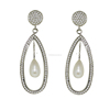 925 Sterling silver earring, wonderful fresh water pearl and cubic zirconia gemstone earring