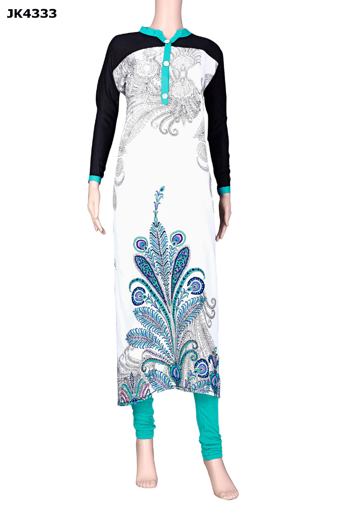Ladies White & Black Colour Kurti For Casual Wear / Latest Evening Wear Kurti Collection / Latest Stylish Kurti 2017
