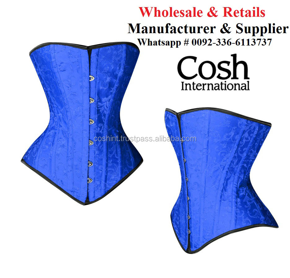 CORSET WHOLESALE : Overbust Jay Blue Satin Double Steel Boned Corsets | COSH International
