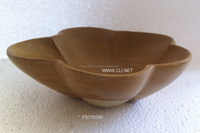 Burma Teak Wood Fruit Bowl Handcarved Flowr Shaped