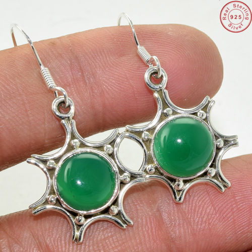 Wholesale natural green onyx earring supplier 925 sterling silver offers gemstone silver jewelry earring