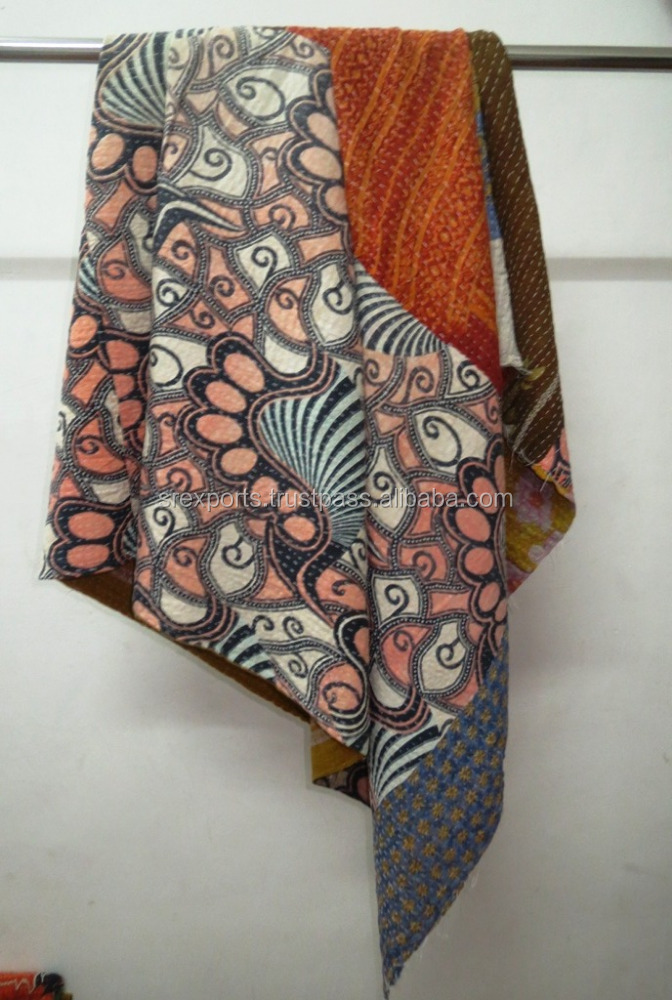 Vintage Cotton Kantha Quilt Reversible Patchwork Sari Throw Handmade Blanket Wholesale Kantha Quilt