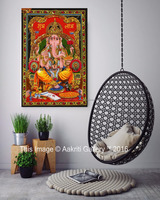 Indian Ganesha Wall Hanging Decor Tapestry Art Poster Throw Aakriti Gallery