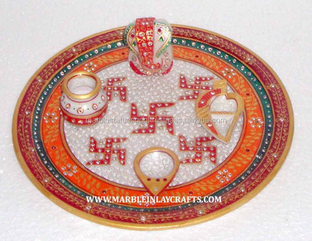 Round Marble Gold Painting Pooja Thaali, Decorative Marble Pooja Thali