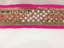 9 mtr lace border trim Netted, Pink border n center, Green highlight both side