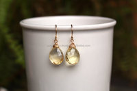 Yellow Citrine Wire Wrapped silver Earring
