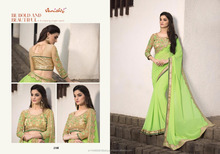 Saree With Soft Net With Heavy Embroidery blouse Pure Georgette fastival Designer Saree