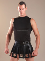 MEN LEATHER KILT GENUINE LAMBSKIN PURE LEATHER RINGS KILT