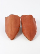 Soft sheep leather brown slippers for men , very comfortable moroccan babouche slippers.