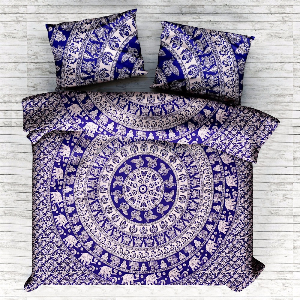 Jaipur Hand Screen Print Queen Quilt Doona Cover Sets hippe Elephant mandala tapestry doonas cover set