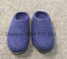 Eco-friendly handmade felt shoes with leather sole for indoor and outdoor use