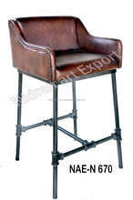 Industrial & vintage Iron METAL & Genuine Leather High Back Bar chair