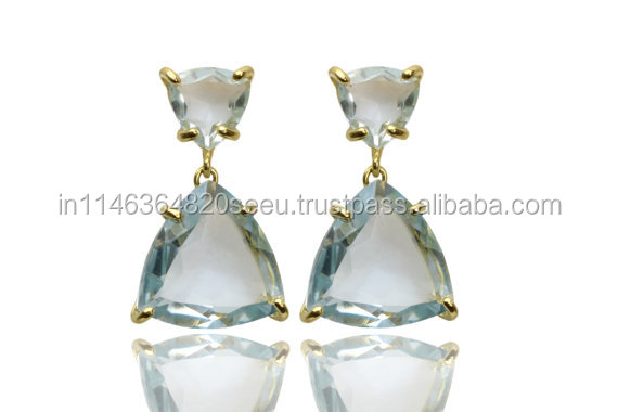 Trinity Shape Handmade Beautiful Gorgeous Light Blue Topaz Bar Setting Earring